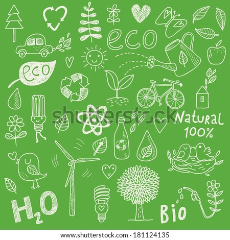 Ecology concept vector set in vector.