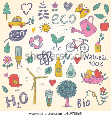 Ecology concept vector set in vector. Eco elements, wind power plant, tree, car, bicycle, lightbulb, atom, watering can, leafs, birds, bottle and other - stock vector