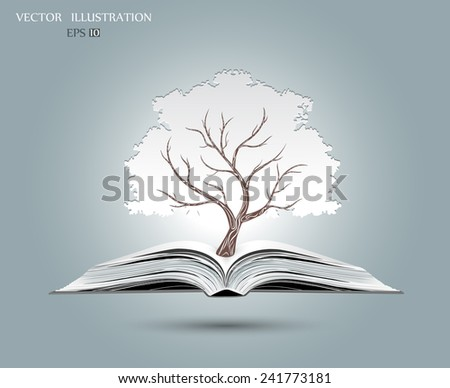 Ecology concept, White paper tree growing from an open book, Vector illustration modern design template