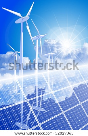 Ecology concept: wind-driven generators, solar power systems & blue sky - stock vector