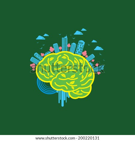 Ecology concept with brain - Illustration - stock vector