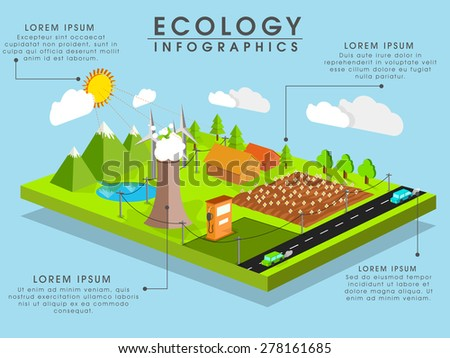 Ecology concept with 3D view of a city on sky blue background. - stock vector