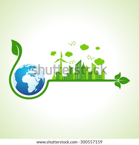 Ecology concept with earth  - vector illustration  - stock vector