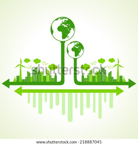 Ecology concept with eco earth - vector illustration - stock vector