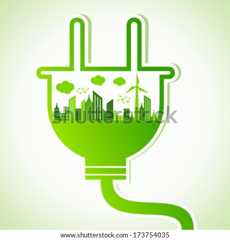 Ecology concept with electric plug - vector illustration - stock vector