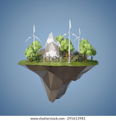 Ecology concept with low poly island with windmills trees, mountains and grass  - stock vector