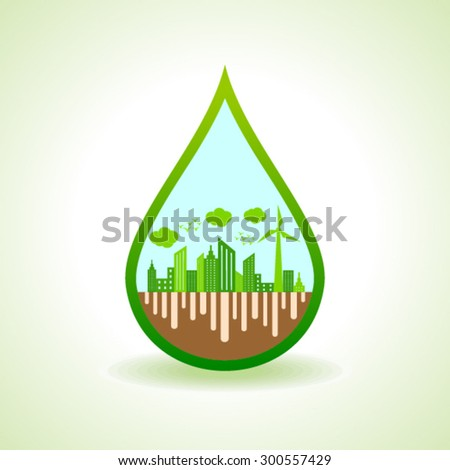 Ecology concept with water droplet - vector illustration  - stock vector