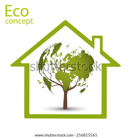 Ecology concept, wood, in the form of a map of the world, inside a green house, vector illustration modern template design - stock vector