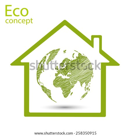 Ecology concept, world map, globe inside a green house, vector illustration modern template design - stock vector