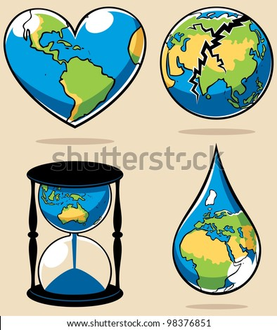 Ecology Concepts 2: 4 conceptual illustrations on environmental subjects.   No transparency and gradients used. - stock vector