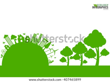 Ecology connection  concept background . Vector infographic   illustration