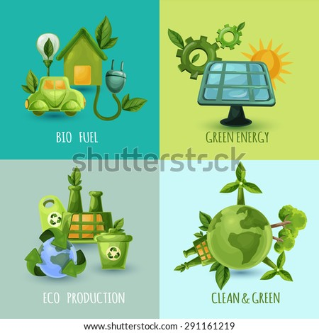 Ecology design concept set with bio fuel green energy eco production cartoon icons isolated vector illustration - stock vector