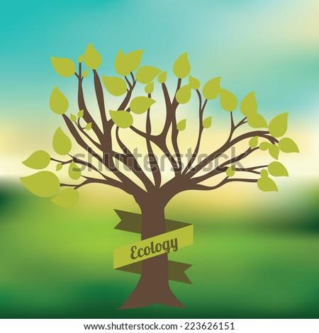 Ecology design over blur background, vector illustration - stock vector