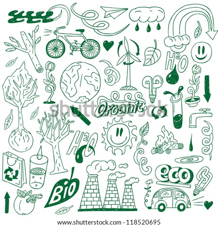 Ecology - doodles collection - stock vector