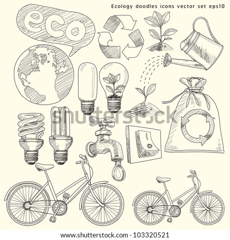 Ecology doodles icons vector set (vector). jpg version also available - stock vector