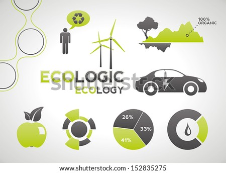 Ecology elements and icons for infographics - stock vector