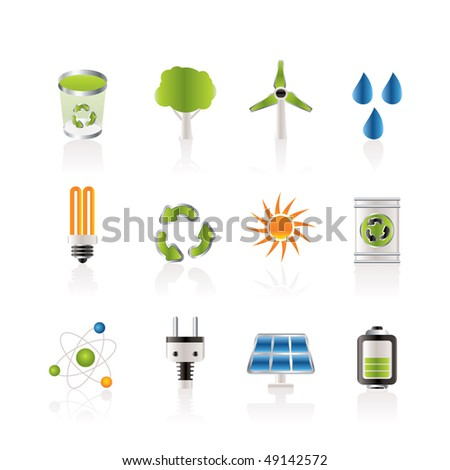 Ecology, energy and nature icons - Vector Icon Set
