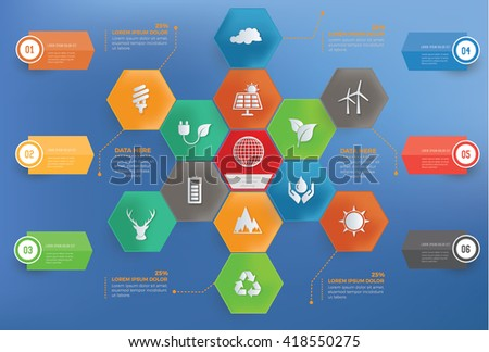 Ecology,energy concept info graphic design on blue background,vector - stock vector