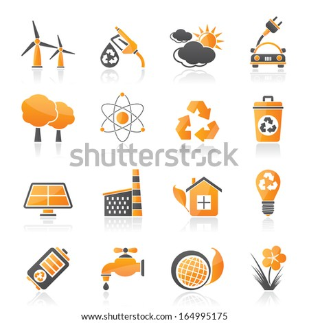 Ecology, environment and recycling icons - vector icon set - stock vector