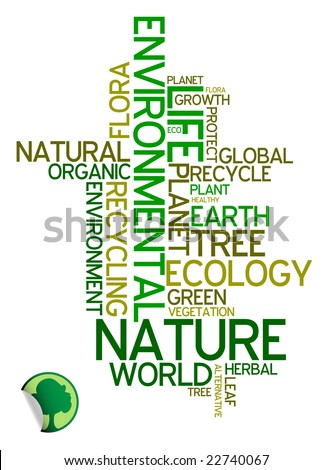 Ecology - environmental poster made from words - stock vector