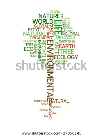Ecology - environmental poster made from words in the shape of green tree - stock vector