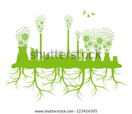 Ecology factory chimney vector background concept with no pollution and green planet roots