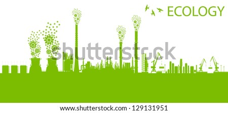 Ecology factory chimney vector background concept with no pollution green concept - stock vector
