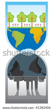 Ecology.  Factory pollution. - stock vector