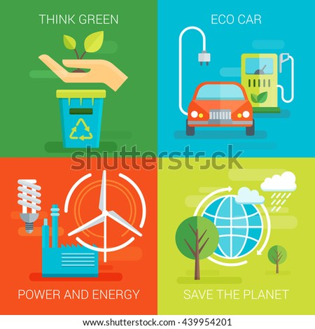 Ecology flat compositions with think green eco car save planet safe power and energy isolated vector illustration  - stock vector