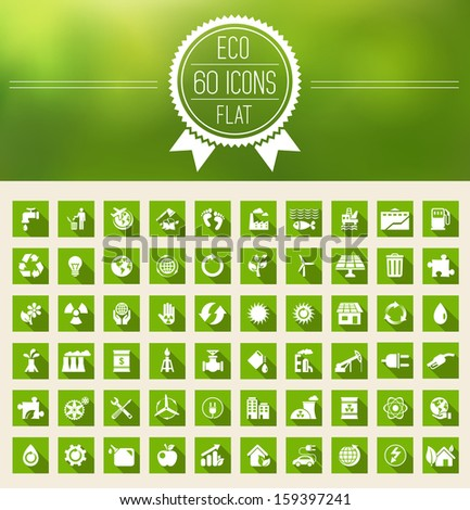 Ecology Flat Icon Set - stock vector
