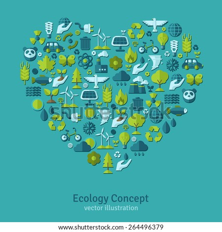 Ecology flat icons arranged in heart. Vector illustration. Hand with sprout, hand with water drop. Solar energy sign, wind energy sign, wild animals. Save the planet concept. - stock vector