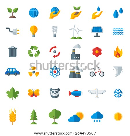Ecology flat icons set isolated on white. Vector illustration. Hand with sprout, hand with water drop. Solar energy sign, wind energy sign, wild animals. Save the planet. - stock vector