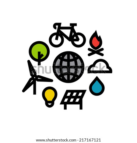 Ecology flat line icons - stock vector