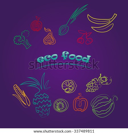ecology food. fruits and vegetebles - stock vector