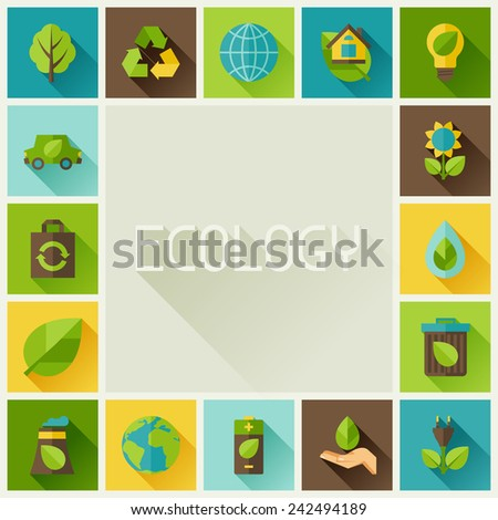 Ecology frame with environment, green energy and pollution icons.