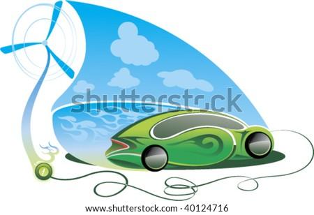 ecology friendly car - stock vector