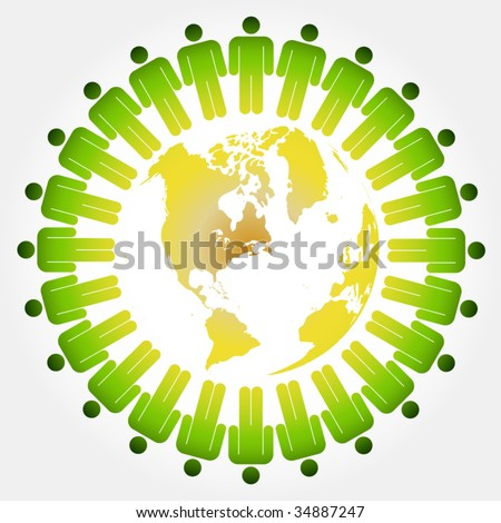 Ecology friendship chain - stock vector