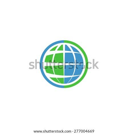 Ecology globe logo, green technology graphic sing, idea natural tech symbol - stock vector