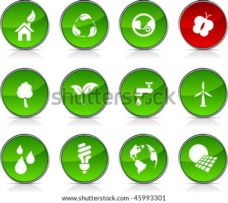 Ecology   glossy icons. Vector buttons.