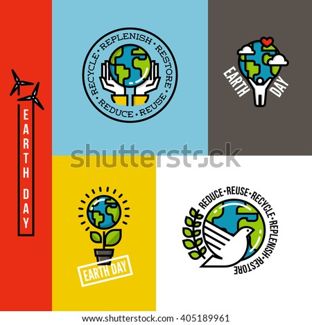 Ecology, go green and eco-friendly concepts with Earth planet, human hands and peace dove. Set of environmentally themed flat line vector illustrations - stock vector