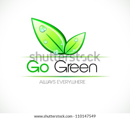 Ecology green background for eco friendly covers or brochures, with colorful leaves and water drops - stock vector