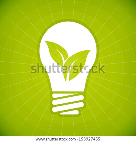 Ecology green bulb vector illustration. isolated from background. - stock vector