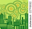 Ecology green cityscape vector background - stock photo