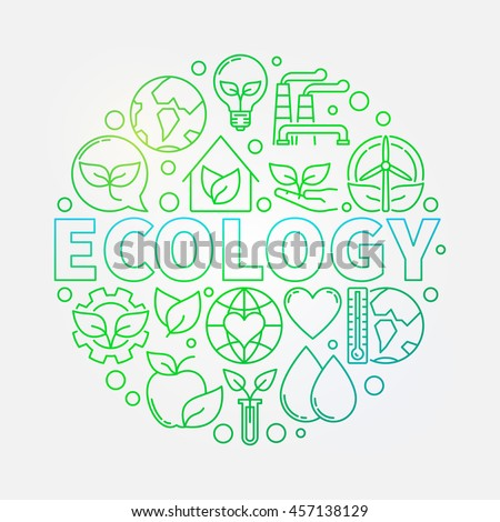 Ecology green colorful illustration. Vector bright linear eco concept round sign made with word ECOLOGY and ecological icons - stock vector