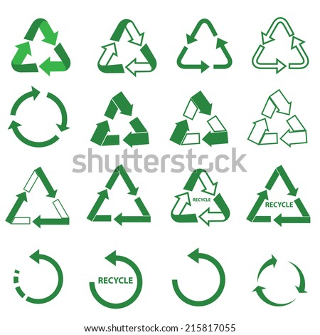 ecology green icons recycle sign set - stock vector