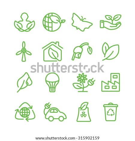 Ecology green line icon - stock vector