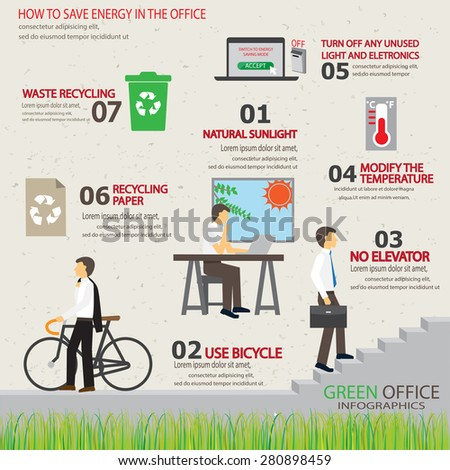 ecology green office working place infographic element and background. way to save energy. design for layout, banner, web design, brochure, template. vector illustration - stock vector