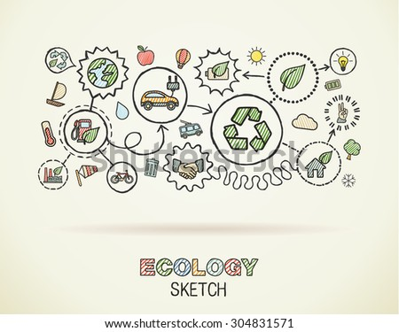 Ecology hand draw integrated icons set on squared paper. Color vector sketch infographic illustration. Connected doodle pictograms: eco friendly, bio, energy, recycle, car, planet, green concepts - stock vector