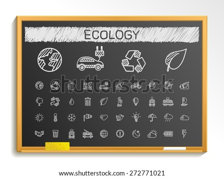 Ecology hand drawing line icons. Vector doodle pictogram set: chalk sketch sign illustration on blackboard with hatch symbols: energy, eco friendly, environment, tree, green, recycle, bio, clean - stock vector