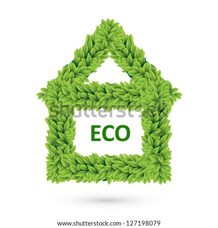 Ecology home icon with leafs - stock vector